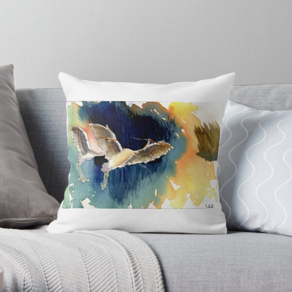 Watercolor egrets Throw Pillow