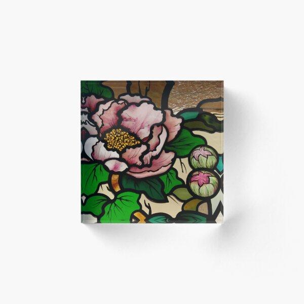 Peony Flower with Buds Acrylic Block