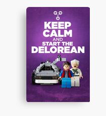 Keep Calm and start the delorean Canvas Print