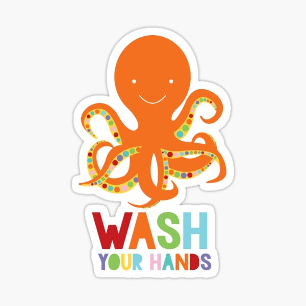 Wash your hands octopus Sticker
