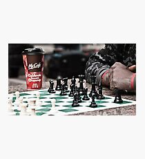 occupy wall street protestor playing chess Photographic Print
