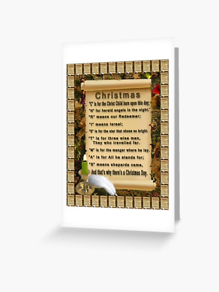 Meaning Of C H R I S T M A S Picture Greeting Card