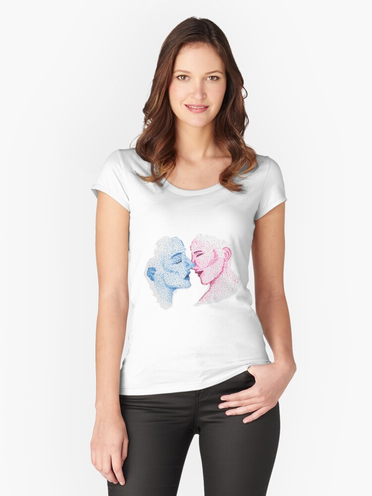 The Kiss - Pink and Blue Women's Fitted Scoop T-Shirt Front