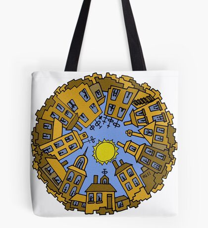 Day City surreal drawing Tote Bag