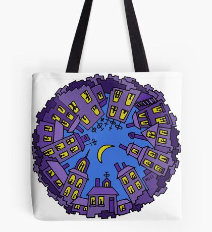 Night City surreal drawing Tote Bag