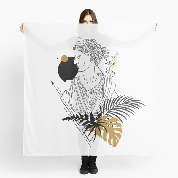 Artemis (Diana). Creative Illustration In Geometric And Line Art Style Scarf