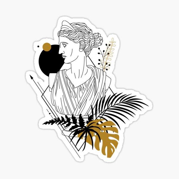 Artemis (Diana). Creative Illustration In Geometric And Line Art Style Sticker