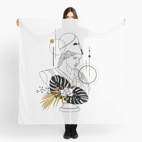 Athena (Minerva). Creative Illustration In Geometric And Line Art Style Scarf
