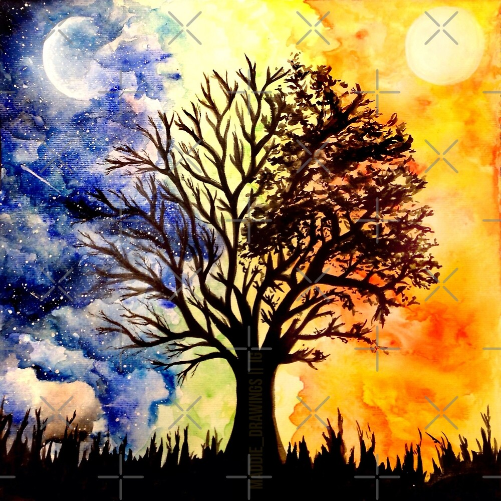 Quot Sunset And Night Sky Tree Painting Quot By Maddie Vo Redbubble