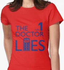 Rule 1: The Doctor Lies (blue) Womens Fitted T-Shirt