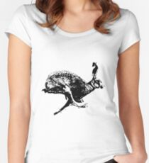 bounding hare white Women's Fitted Scoop T-Shirt