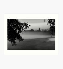 The Clocktower smothered in Fog Art Print