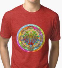 Inner Strength Psychedelic Tiger Sri Yantra Mandala Tri-blend T-Shirt