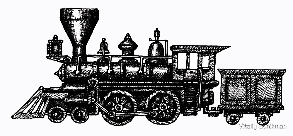 Steam Locomotive black and white pen ink drawing