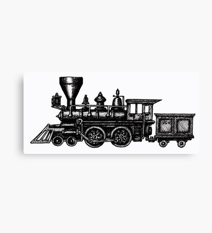 Steam Locomotive black and white pen ink drawing Canvas Print
