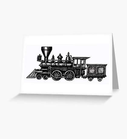 Steam Locomotive black and white pen ink drawing Greeting Card