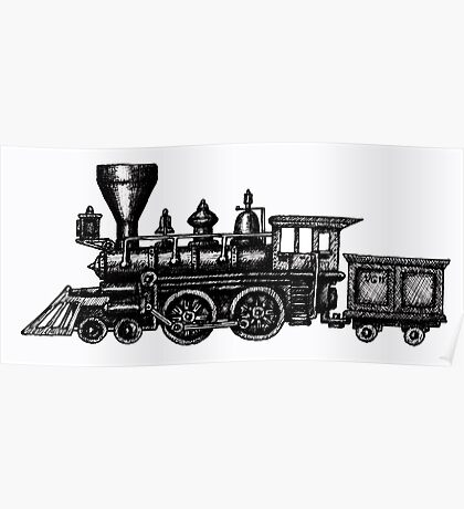 Steam Locomotive black and white pen ink drawing Poster