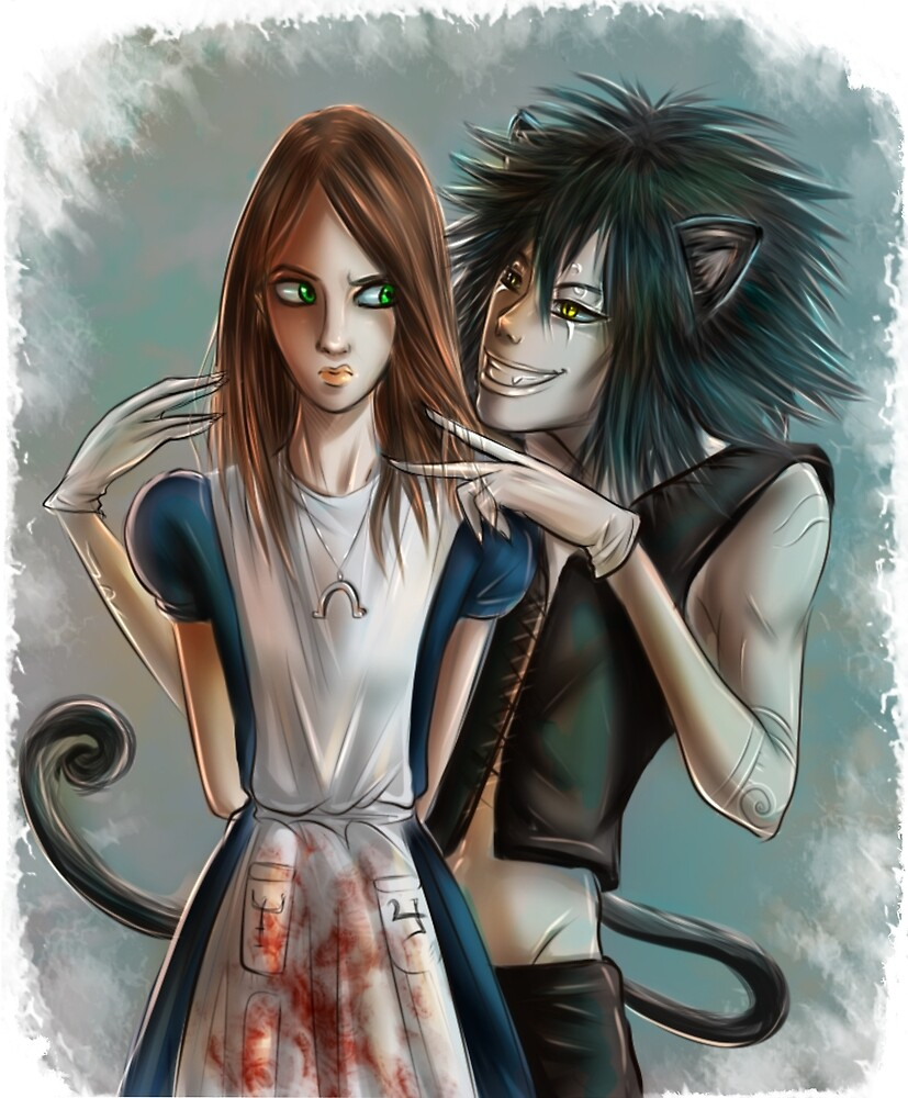 Alice & Cheshire Cat by RobynRot-Art