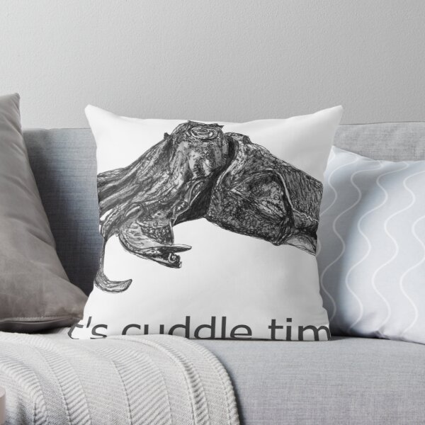 Cuddle time with Clive the Cuttlefish Throw Pillow