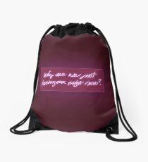 Neon text Drawstring Bag