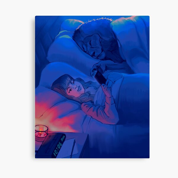 """""""scrolling"""" peaceful night with lion pet graphic illustration moonlit bed Canvas Print"""