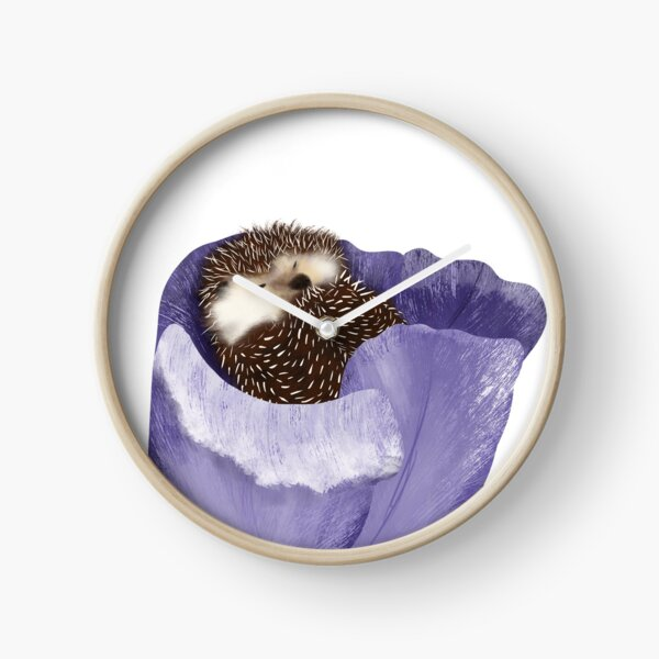 Cute Hedgehog Sleeping In Purple Tulip Clock