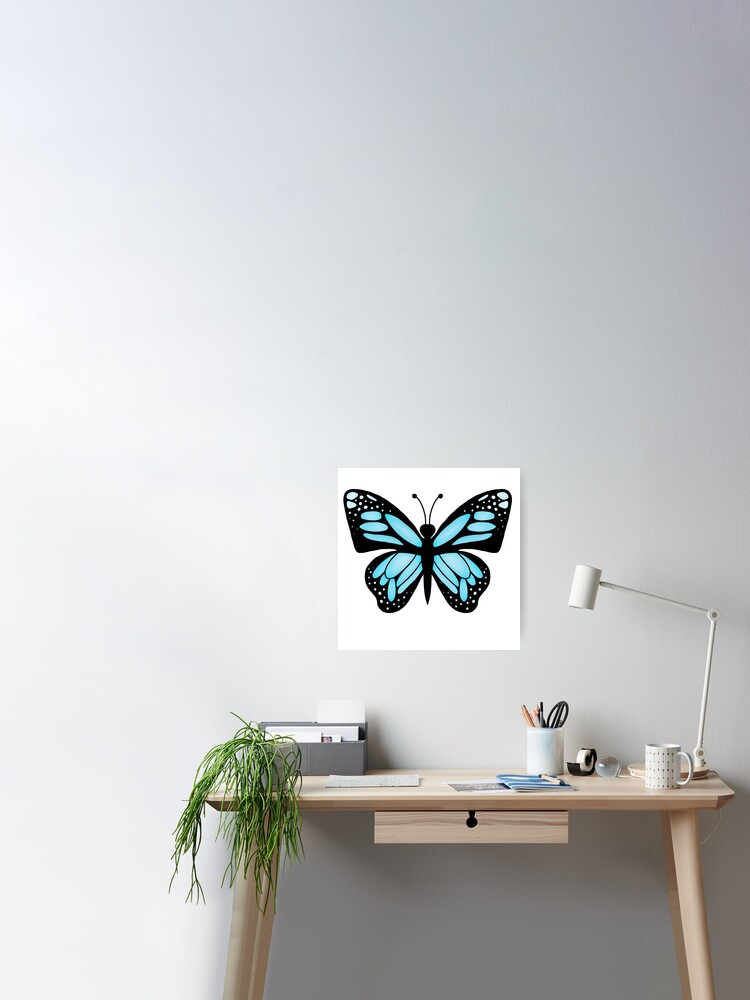 Blue Aesthetic Butterfly Poster By Pastel Paletted Redbubble