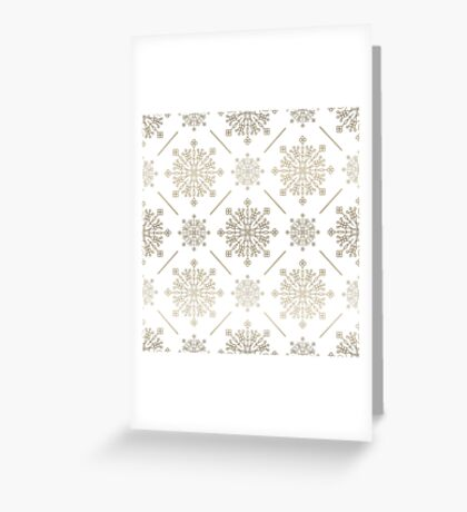 Gold Tones Abstract SnowFlakes Pattern Greeting Card