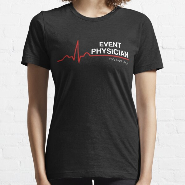 Event Medicine Physician ECG Style (White/Red) Essential T-Shirt