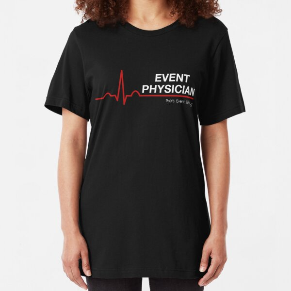 Event Medicine Physician ECG Style (White/Red) Slim Fit T-Shirt