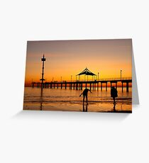 Sunset Silhouette at Brighton Jetty Greeting Card