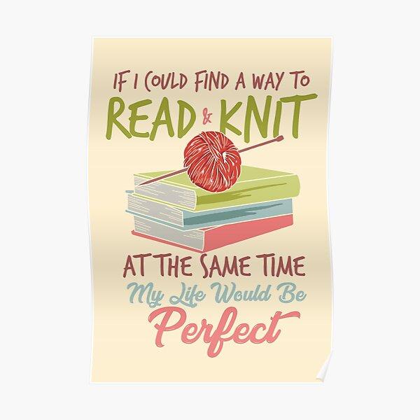 Knitting reading books Poster