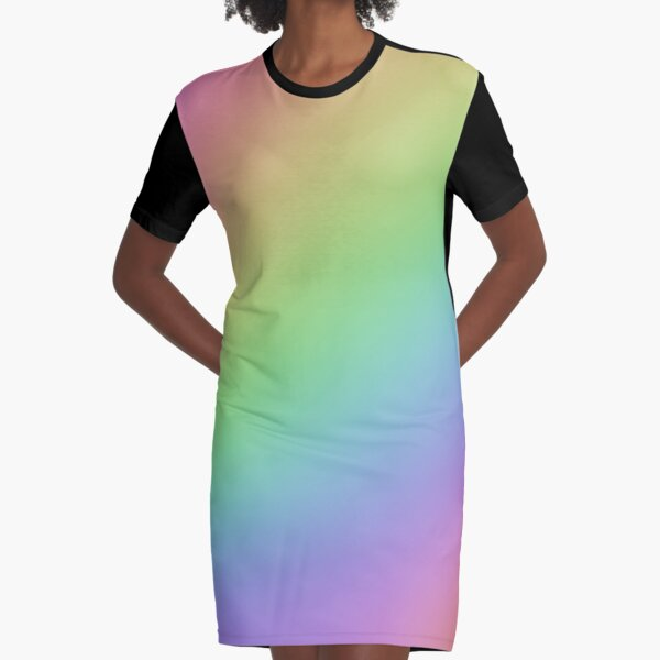 Pastel Rainbow Ombre Graphic T-Shirt Dress