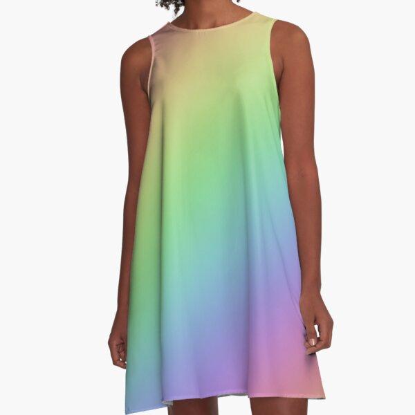 Pastel Rainbow Ombre A-Line Dress