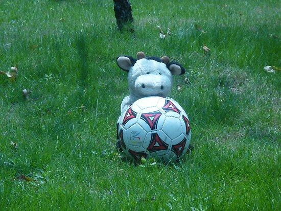 Moo Moo playing soccer by Joseph Green