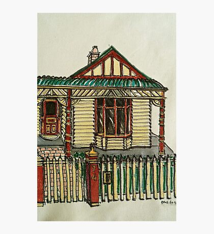 Bijou style house, Melbourne. © Pen and wash on fabric. Photographic Print