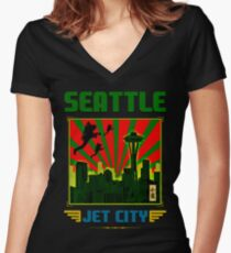 SEATTLE - JET CITY Women's Fitted V-Neck T-Shirt