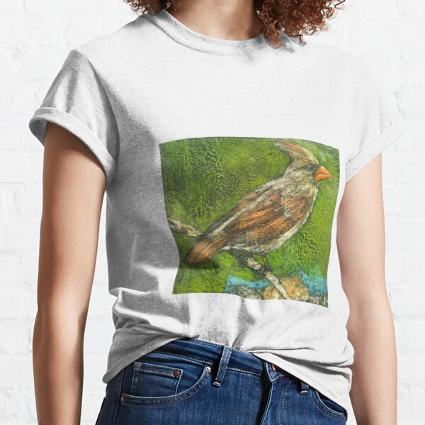 Well Traveled (Female Cardinal Perching) Classic T-Shirt