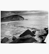 East Beach Black and White Poster