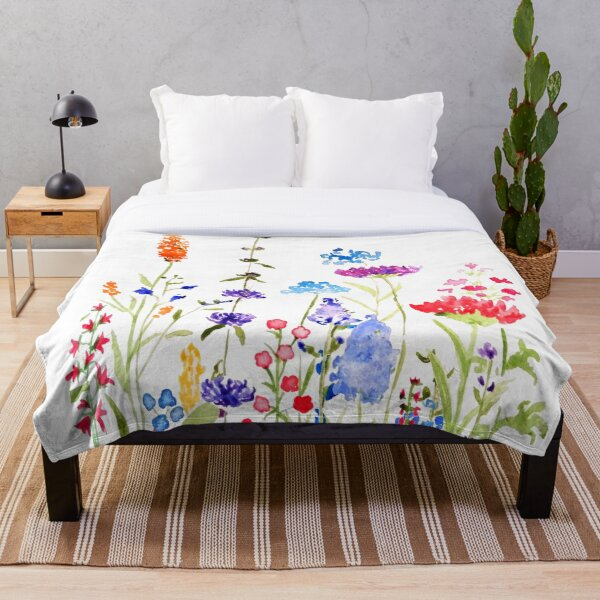 colorful wild flowers watercolor painting Throw Blanket