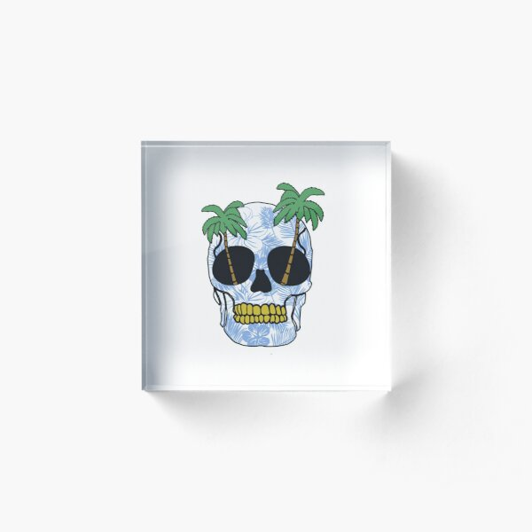 Vacation Skull Acrylic Block