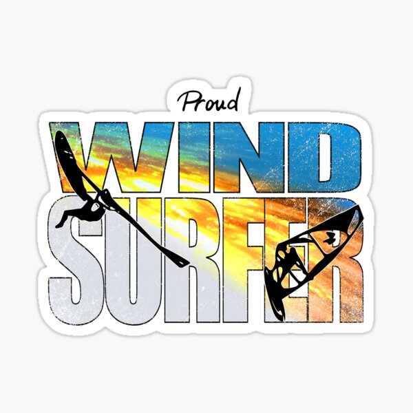 Proud Windsurfer Jumping Sunset Colors over Ocean Waves Sticker