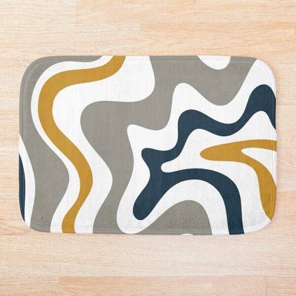 Liquid Swirl Contemporary Abstract in Mustard Yellow, Navy Blue, Grey, and White Bath Mat