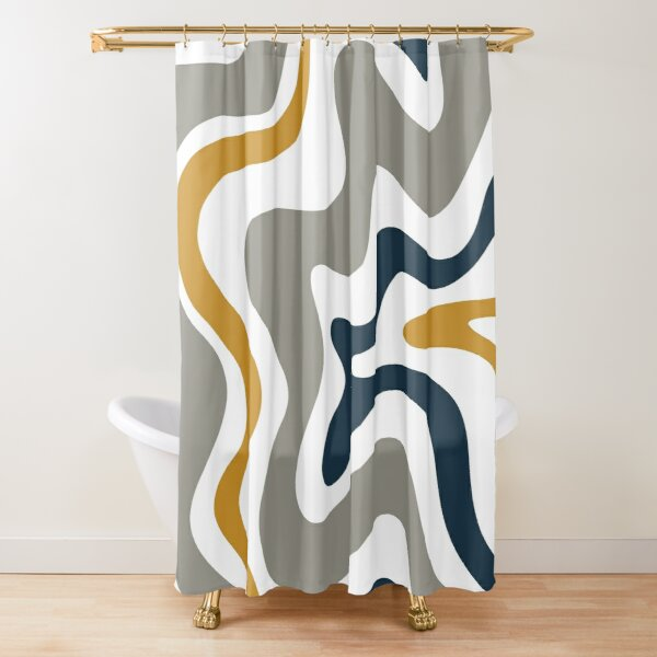 Liquid Swirl Contemporary Abstract in Mustard Yellow, Navy Blue, Grey, and White Shower Curtain