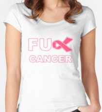 Fu** Cancer - Pink Women's Fitted Scoop T-Shirt