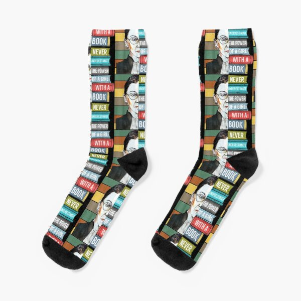 Notorious RBG Ruth Bader Ginsburg Never UnderEstimate The Power of A Girl With A Book Feminist Gift  Socks
