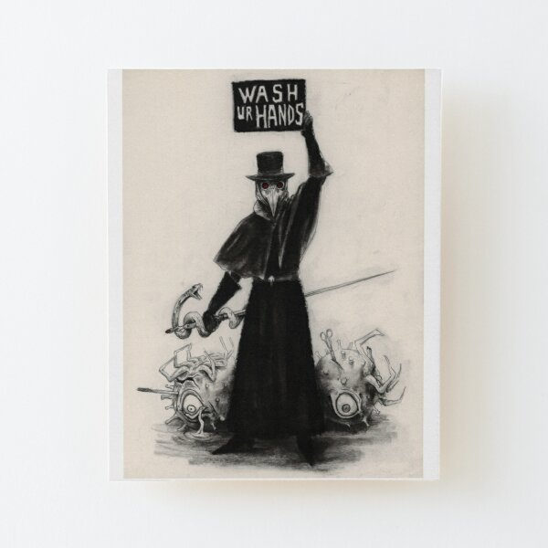 Plague Doctor Wood Mounted Print