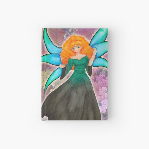 Red haired Fairy in Green Hardcover Journal