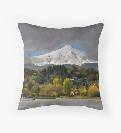 Pucon and Volcano Villarica Throw Pillow