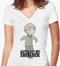 Gotta Get My SHERLOCK Women's Fitted V-Neck T-Shirt